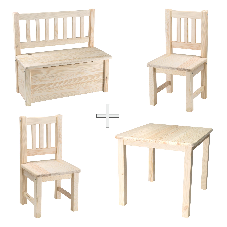 Tischplatte Ikea Holz ~  Kindertisch mit Stühlen + Kindersitzbank Kindersitztruhe Holz  eBay