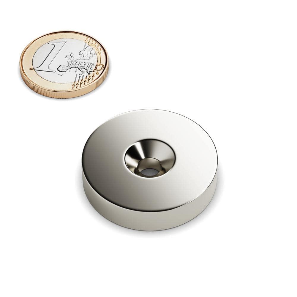 1 bis 100 st ck neodym magnete mit senkung d 32 mm mit loch h lt 27 kg ebay. Black Bedroom Furniture Sets. Home Design Ideas