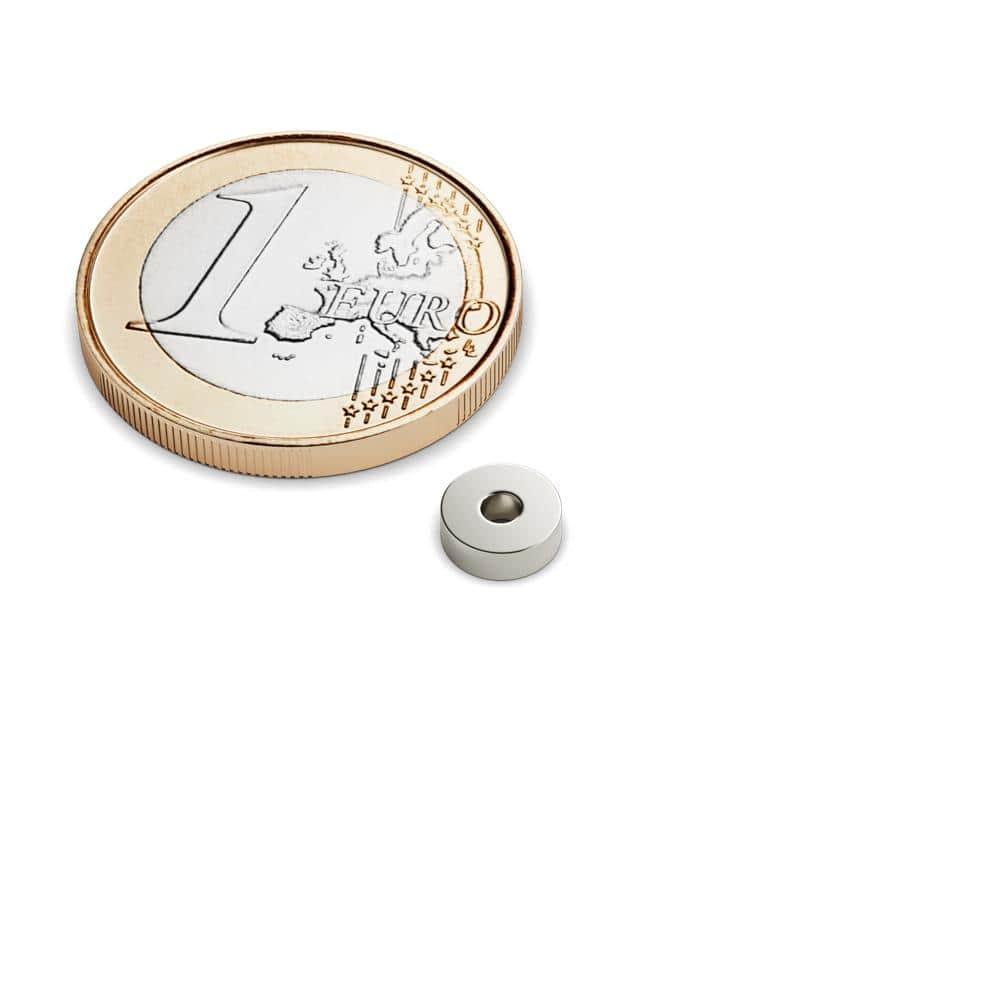 2 bis 100 Stück Neodym Ringmagnete 6x2x2 mm starke mit Bohrung Loch Ring Magnet